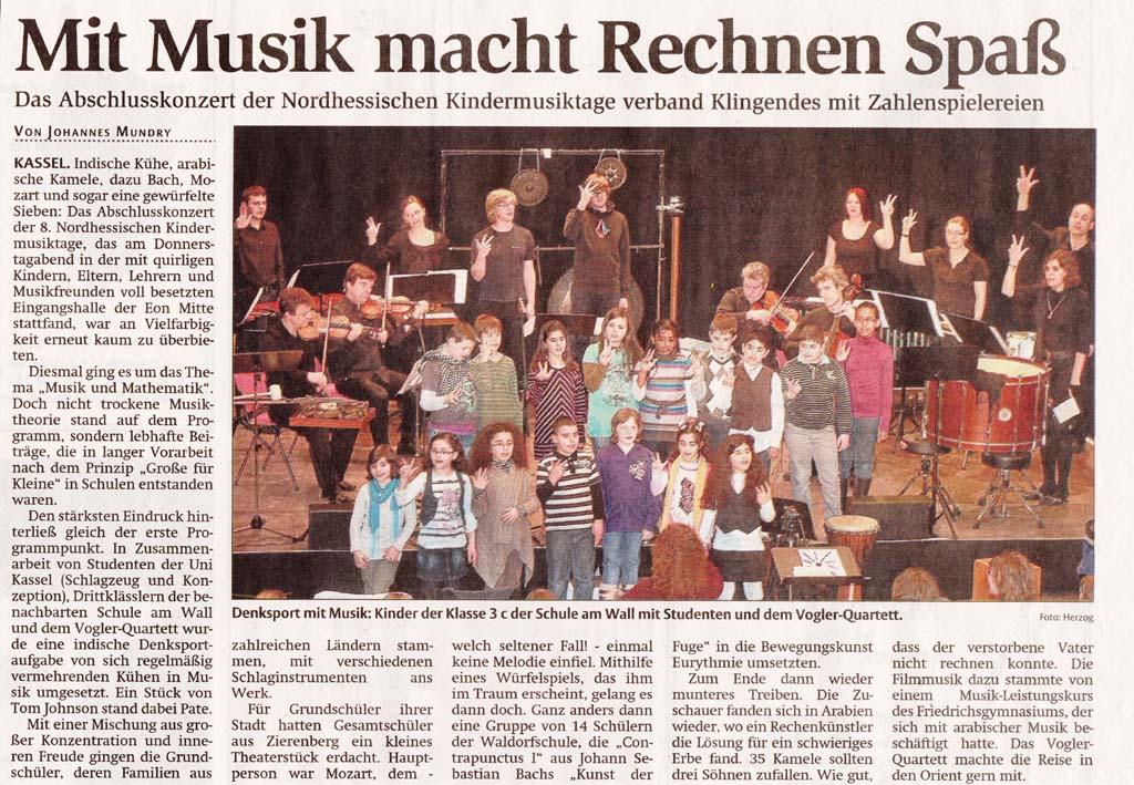 HNA 02.03.12: Mit Musik macht Rechnen Spaß